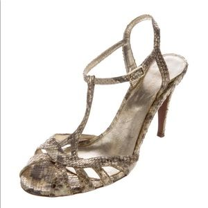 Sergio Rossi Embossed Snake T strap Sandals Shoes